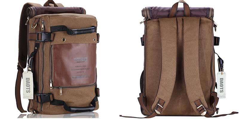 DAOTS Canvas Casual Backpack Vintage Rucksack Daypack for 13 Inch MacBook Pro 2021