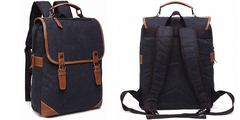 Kenox Vintage College Backpack School Bookbag Canvas 15 inch Laptop Backpack